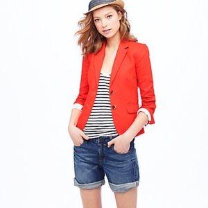 J. Crew Classic Schoolboy red linen blazer